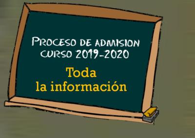 Proceso de admisión (Curso 2019-2020)