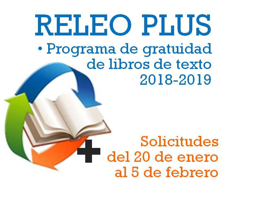 Programa de gratuidad de libros de texto RELEO PLUS 2018/2019 (Convocatoria)