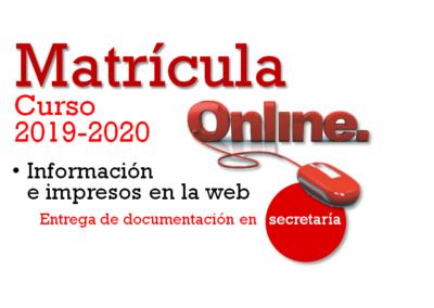 Proceso de matriculación (Curso 2019-2020)