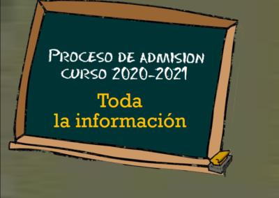 Proceso de admisión (Curso 2020-2021)