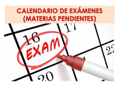Calendario de exámenes de materias pendientes (Abril 2021)