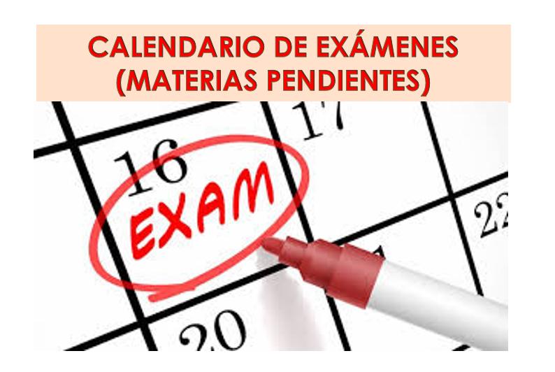 Calendario de exámenes de materias pendientes (Enero 2021)